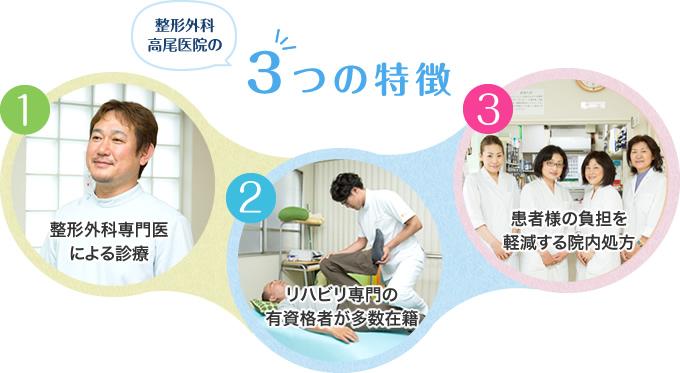 整形外科 高尾医院の3つの特徴
